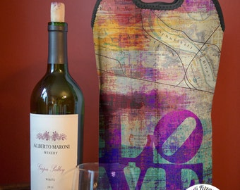 Wine Bag BYOB | LOVE Philadelphia Map | Two Bottle Neoprene Wine Carrier Tote |  Bar Accessory | Hostess Gift | Custom Available