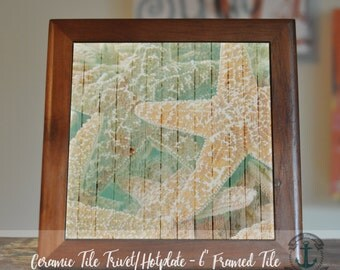 "Trivet Hot Plate: Starfish | 6"" Ceramic Tile Trivet Kitchen Accessory|Choose tile, tile with barnwood stand or mahogany frame trivet"