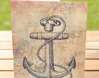Anchor Greeting Card | Rockport, Mass Vintage Map Fisherman | A7 5x7 Folded - Blank Inside - Wholesale Available