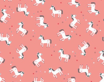 Unicorns on Coral from Riley Blake's Princess Dream Collection