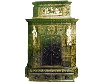 Rare Meissen green tile stove