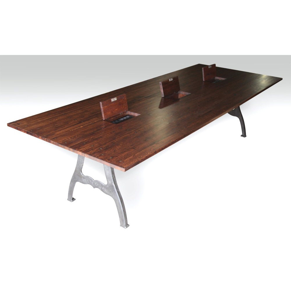10 ft industrial conference table with 3 outlet boxes for 10 foot conference table