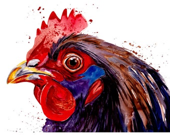 5x7 Chicken Watercolor Painting Fine Art Print Watercolor Chicken Print Chicken Painting Chicken Art Colorful Chicken Painting