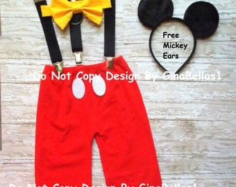 Mickey Mouse Birthday cake smash outfit FREE ears Suspenders Halloween costume Pants yellow bowtie baby boy photo 9 12 18 24 toddler SALE