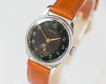 Mid century men's watch Pobeda\Victory, classy men's wrist watch, black watch for gents, minimalist watch gift him,premium leather strap new