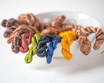 Vintage Silk Yarn Set 13, Mixed Silk Lace Yarns Brown Orange Green Navy Black, Needlework Yarns, Needlepoint Yarns, Yarns Woven Ribbon Trim