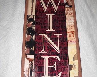 Vertical Wine Kitchen Bar Wooden Wall Art Sign Corks Bottle Opener Bottles