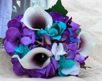 Purple turquise small hydrangea bouquet, hydrangea, picasso callas, galaxy orchids, purple blue orchids