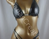 Silver Anaconda Hologram Spandex  Two- piece Figure Competition Suit  C cup Small bottom.