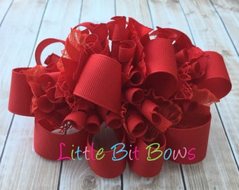 Solid Red Funky Loopy Bow