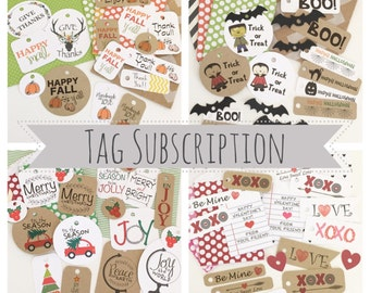 Seasonal Gift Tag Subscription / Product Tags / Packaging Supplies / Gift Wrap / Happy Mail Packaging