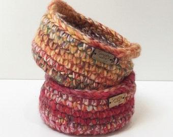 Crochet Storage Basket - Crochet Bowl - Basket with Handles - Home Decor