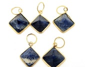 15% Valentines Day Sodalite Pyramid Pendant with Gold Plated Edge (S83B6-04)