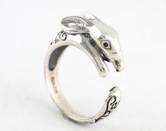 Sterling Silver Rabbit Adjustable Ring