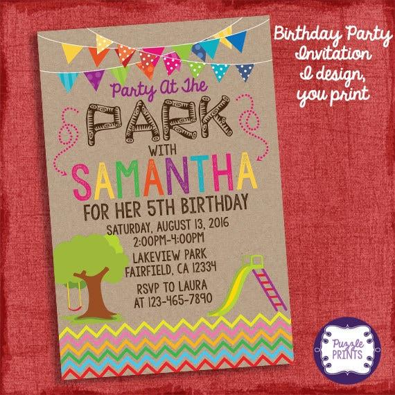 Birthday Party At The Park Invitation Girl Birthday