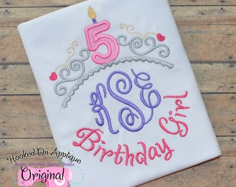 Birthday Monogram Crown with Number Applique - Girl's monogram shirt - Disney Vacation Shirt - Disney , Frozen Themed Birthday shirt