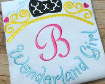 Wonderland Girl - Alice in wonderland Themed Monogram Disney Shirt - Girl's monogram shirt - Disney Vacation - Themed party shirt monogram