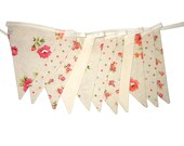 Floral & Spot Fabric Flag Bunting with Lace. Linen Look . Party, Market Stall Banner Decoration