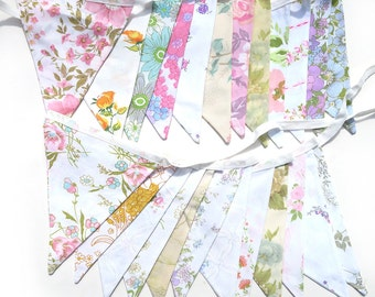 Vintage Bunting . Pretty Spring Pastel & Ivory / White Multi-Colour Floral Flags x 2 . Engagement * Kitchen Tea * Wedding * Birthday Party