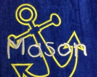 Anchor Beach towel, custom personalized embroidery, personalized beach towel, kids towels, ancor, notical, turtle,