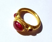 22k gold ring ruby...Three stone ring.