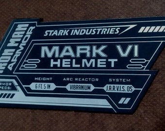 IRON MAN Mark 6 Display Name Placard For Your HELMET Armor vi