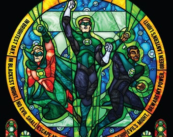 Rose Window- Green Lantern Corp Stained Glass Illustration