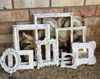 Off White Vintage Frame Collection, Ornate Baroque Frame, Mother Goose, 8 x 10 5 x 7 Ornate Frame Set, Gallery Wall Shabby Frames
