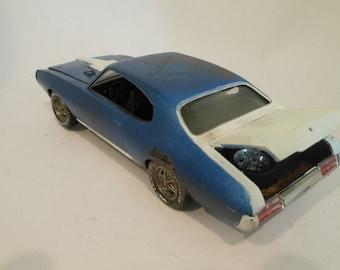 Scale Model Pontiac Car Rusted Wreck Handmade