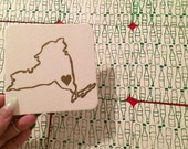 I Love NY Coaster Set - Hand Pulled Letterpress and Silkscreen Printed Coasters