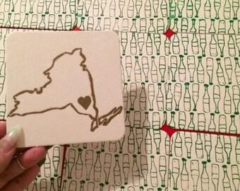 I Love NY Coaster Set - Hand Pulled Letterpress and Silkscreen Printed Coasters