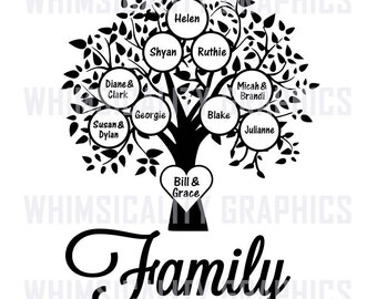 Digital File -Family Tree Blank Template with SVG, DXF, PNG Commercial & Personal Use