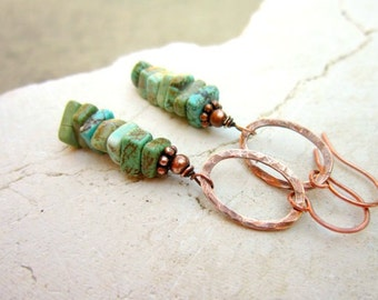 Green Turquoise Stacked Stone Dangle Earrings.Hammered Copper Earrings.Turquoise Earrings.Turquoise Jewelry.Rustic Jewelry.Genuine Turquoise