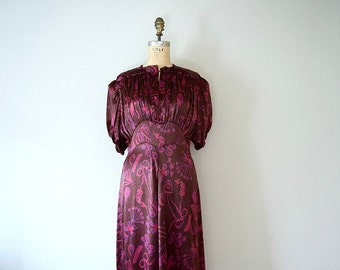 1930s 1940s dress . vintage 30s satin novelty print dress