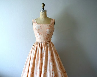 Vintage rose print sundress . 1950s style dress