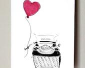 Typewriter I love you card
