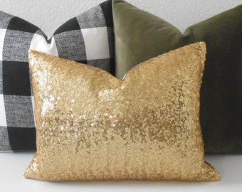 Gold sequins decorative pillow cover, red, silver, holiday pillow