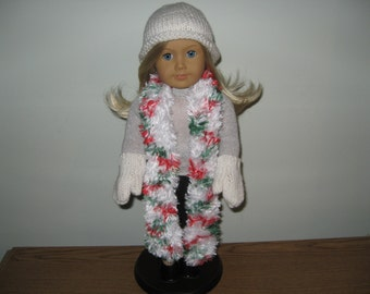 "White with red and green fur Scarf & white Hat Mittens Hand-Knit for 18"" 18 inch Dolls will fit American Girl"