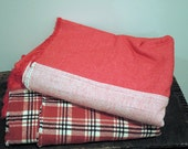 Throw Blanket Flannel Patchwork in barn Red and Plaid