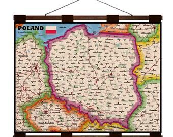 POLAND Map 1G- Handmade Leather Wall Hanging - Travel Art
