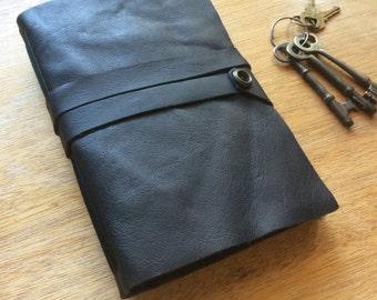 Midnight Black Journal-Handmade-Leather-Black Paper
