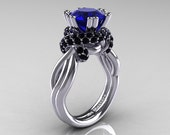 Classic 14K White Gold 3.0 Ct Blue Sapphire Black Diamond Knot Engagement Ring R390-14KWGBDBS