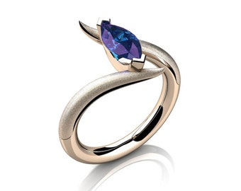 Savage 14K Rose Gold 1.0 Carat Marquise Alexandrite French Engagement Ring R418S-14KRGAL