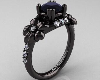 Nature Inspired 14K Black Gold 1.0 Ct Black Moissanite Diamond Leaf and Vine Engagement Ring R245-14KBGDBM