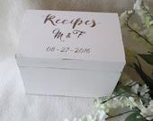 Shabby Chic Recipe Box - Cottage Chic - Antique White - Recipe Box -  4X6 or 5X7 Wooden Recipe Box - Personalized Recipe Box - Shower Gift