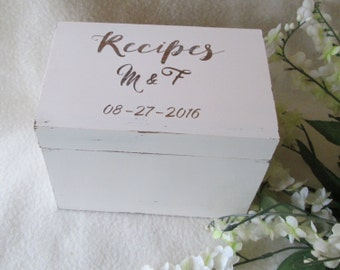 Shabby Chic Recipe Box - Cottage Chic - Antique White - Recipe Box -  4X6 or 5X7 Wooden Recipe Box - Personalized Recipe Box - Shower Gift