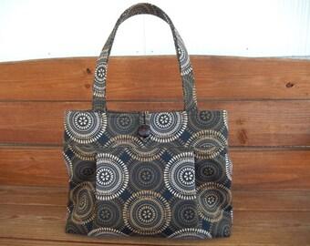 Handbag Purse Fabric Handbag Accessories Women Handbag Pleated Bag Large Shoulder Bag in Black with Gold, Off white Medallion print