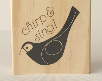 Chirp & Sing! (2.5x2.5) Wooden Mounted Rubber Stamping Block DIY cards, scrapbooking, tags, Greeting Cards, and Scrapbooking
