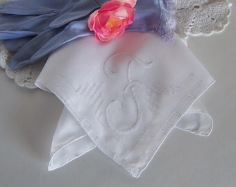 Vintage Wedding Handkerchief Monogramed F in Off White, Bride's Wedding Keepsake Something Old Bridal Shower Gift for Happy Tears