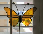 Amber Water Glass Large Stained Glass Butterfly Plant Stake - Memorial Marker - Garden Stake - (2) Available